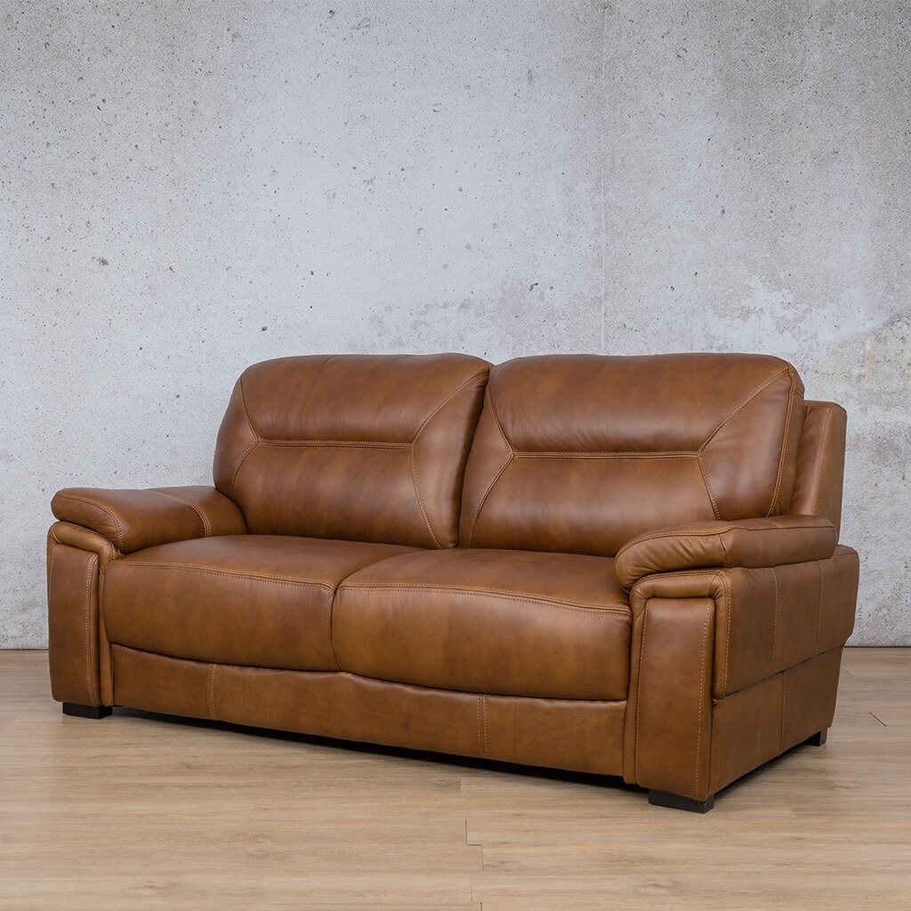 San Lorenze Leather Couch | 3 Seater Couch | Couches for Sale | Czar Pecan-S | Front Angled | Leather Gallery Couches