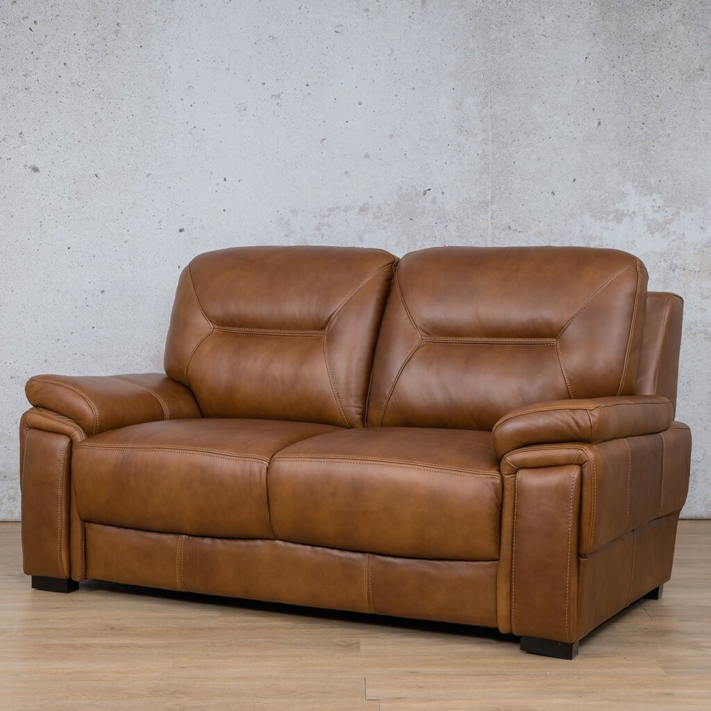 San Lorenze Leather Couch | 2 Seater Couch | Couches for Sale | Czar Pecan-S | Front Angled | Leather Gallery Couches