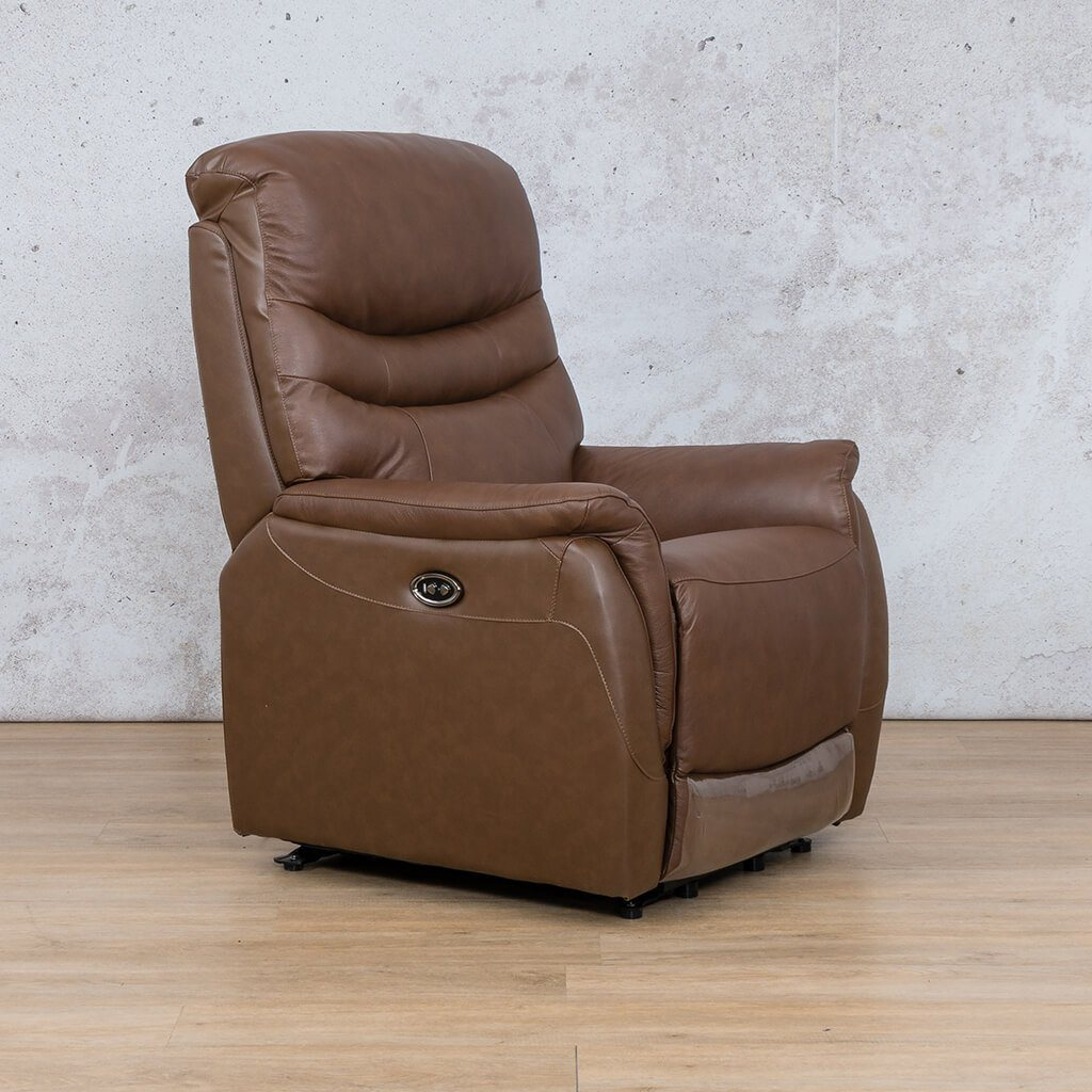 Seattle Leather Recliner Couch | 1 Seater Couch | Saddle-S | Front Angled | Couches For Sale | Leather Gallery Couches