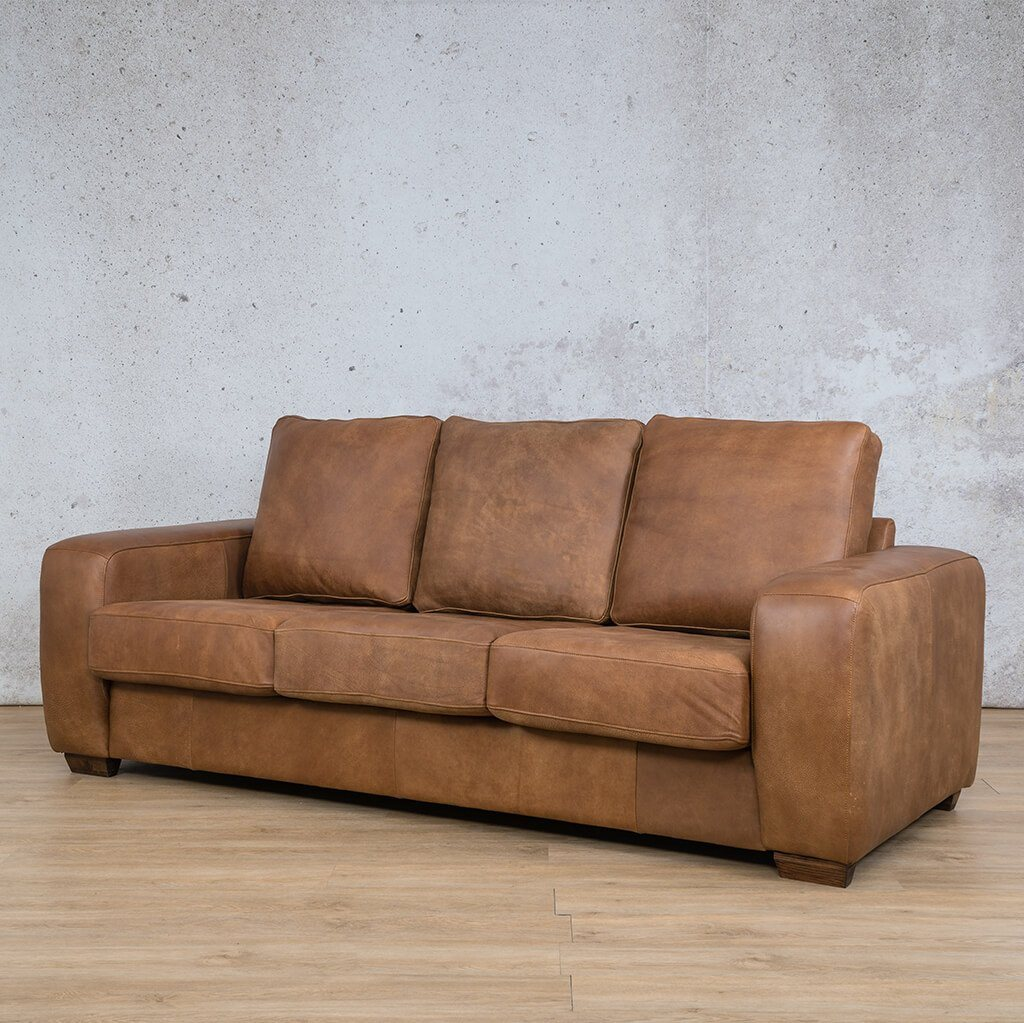 Stanford Leather Couch | 3 Seater Couch | Couches for Sale | Fudge-S | Front Angled | Leather Gallery Couches