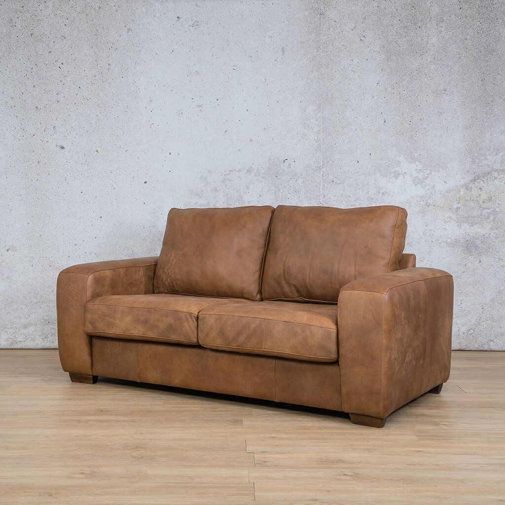 Stanford Leather Couch | 2 seater couch | Fudge-S | Front Angled | Couches for Sale | Leather Gallery Couches