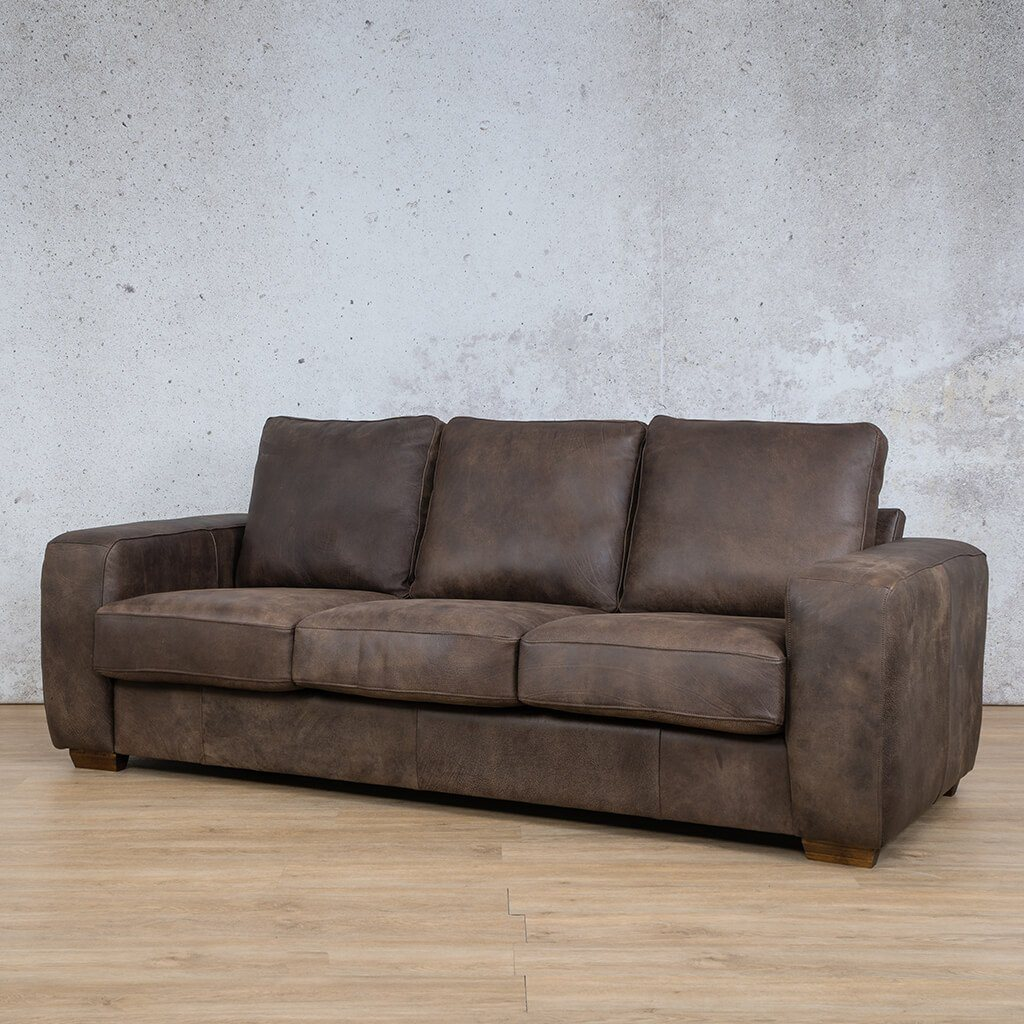 Stanford Leather Couch | 3 Seater Couch | Couches for Sale | Zambezi Brown-S | Front Angled | Leather Gallery Couches