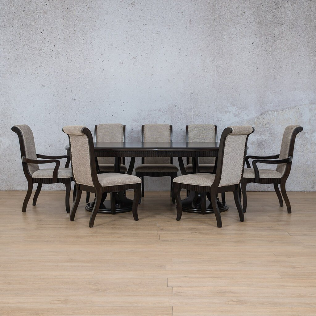 Hampton Dining Set | 8 Seater Dining Set | Dining sets for Sale | Wood | Leather Gallery Dining Sets