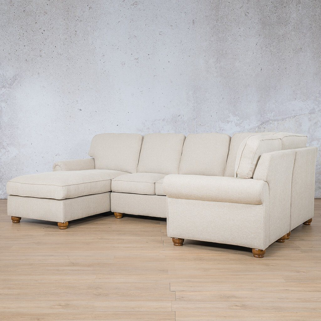 Salisbury Fabric Corner Couch | U-Sofa Chaise Sectional-LHF | Riverside-S | Front Angled | Couches For Sale | Leather Gallery Couches