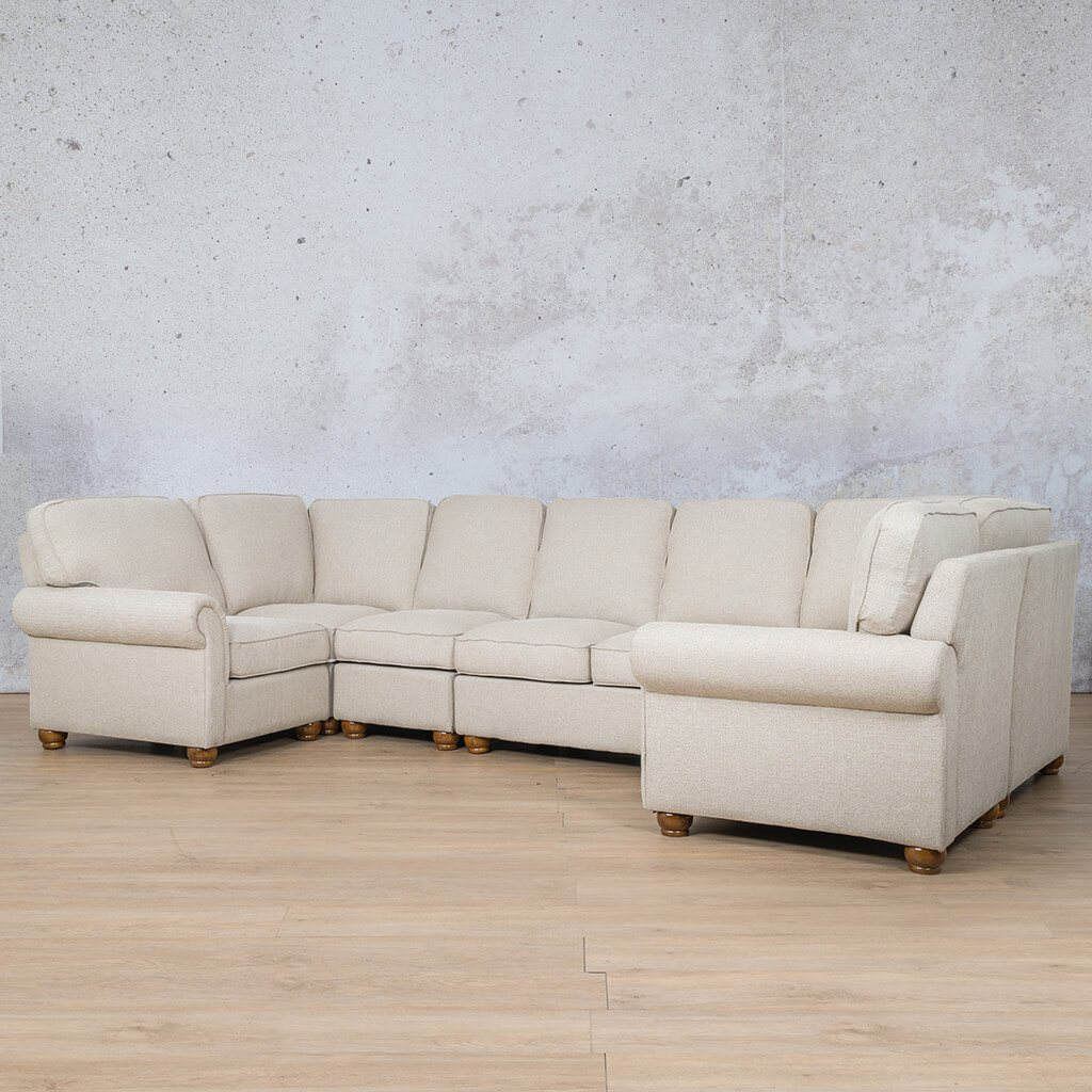 Salisbury Fabric Corner Couch | Modular U-Sofa Sectional | Riverside-S | Front Angled | Couches For Sale | Leather Gallery Couches
