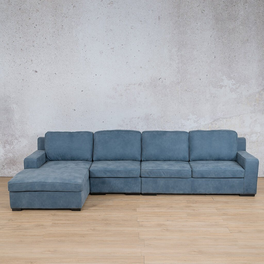 Arizona Leather Couch | Modular Sofa Chaise | Flux Blue | Leather Gallery
