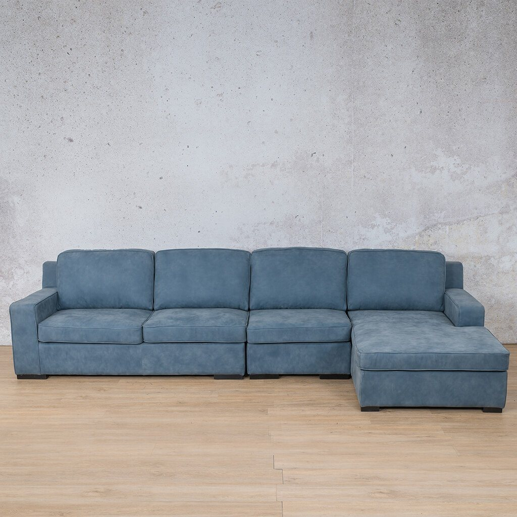 Arizona Leather Couch | Modular Sofa Chaise RHF | Flux Blue | Leather Gallery