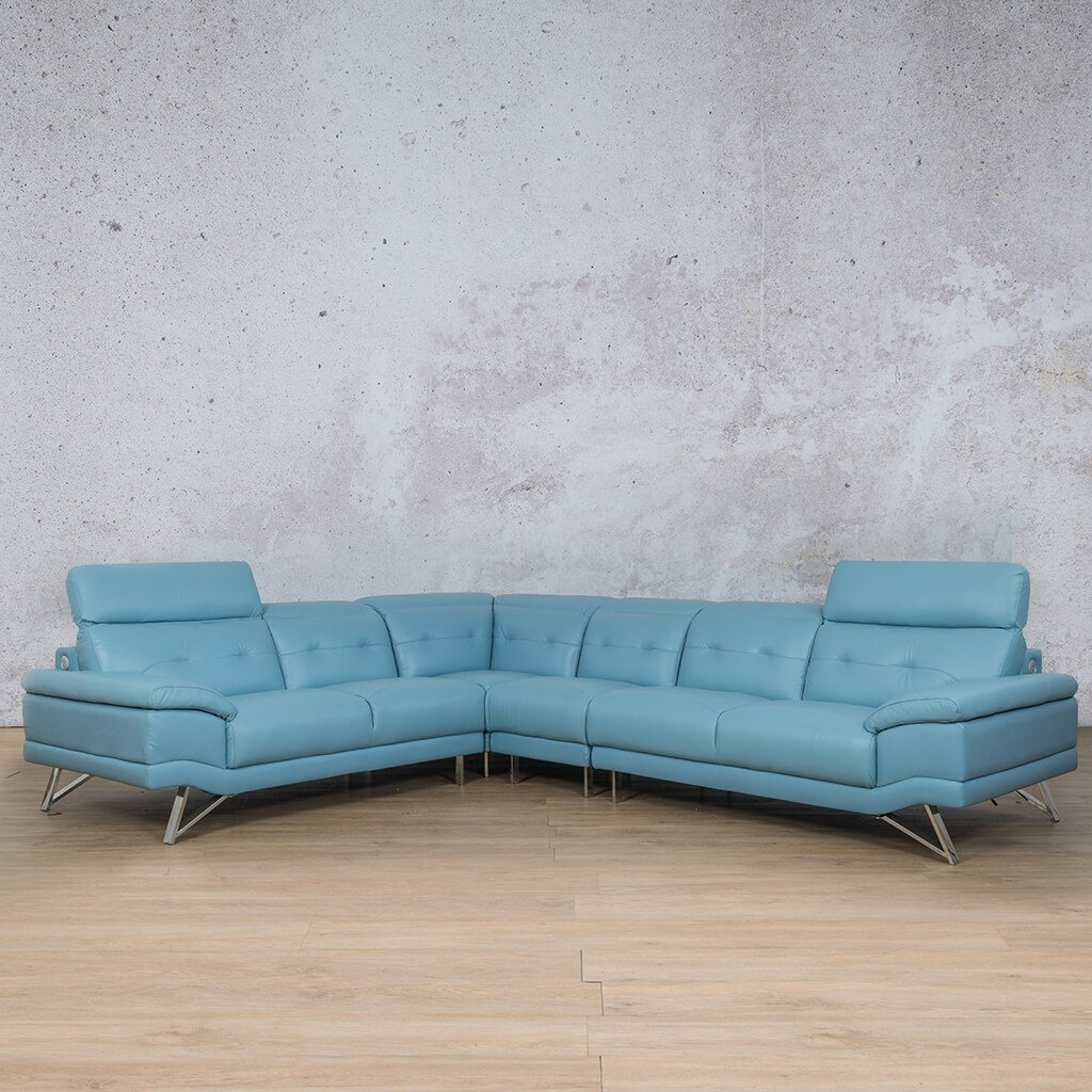 Malina Leather Corner Couch | Sectional | Light Blue-Man | Couches For Sale | Leather Gallery Couches