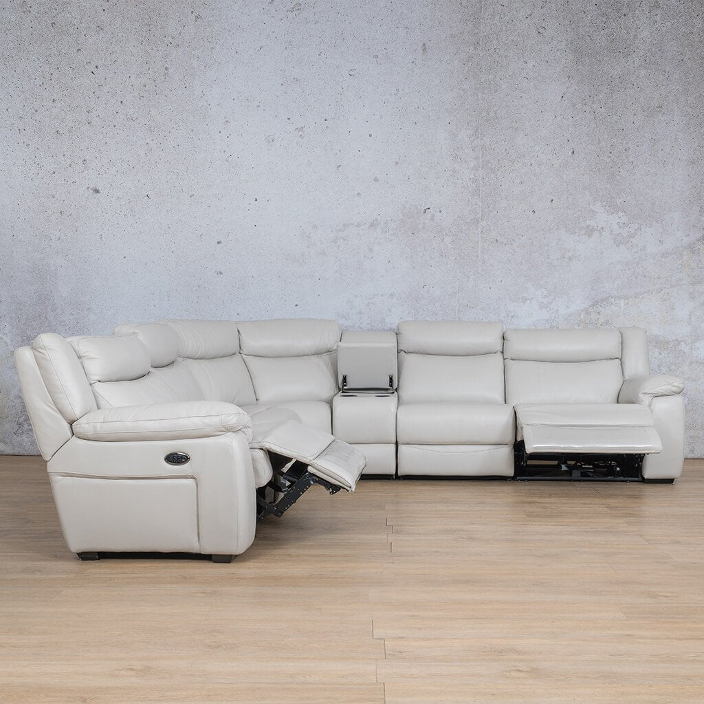 Montana Leather Corner Couch | Corner Couch | Beige-Man | Open Front Angled | Couches For Sale | Leather Gallery Couches