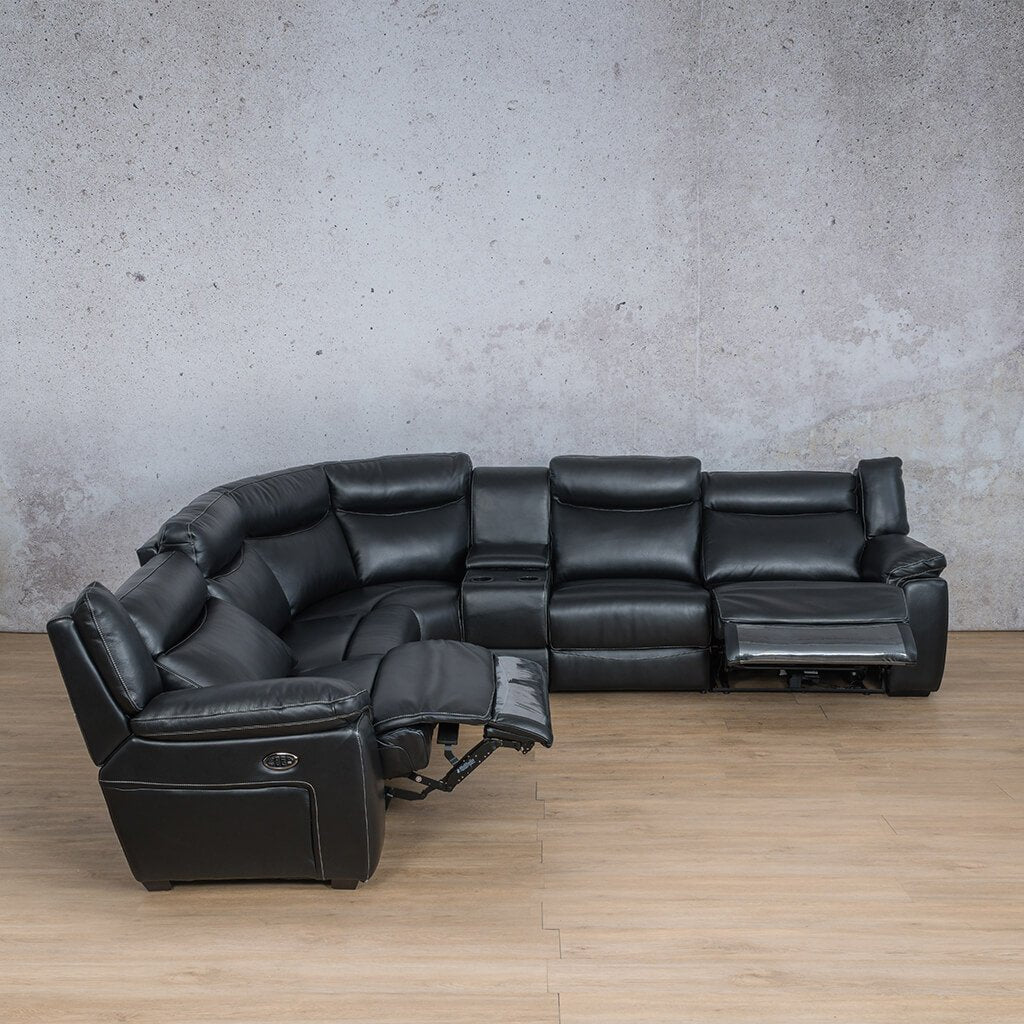 Montana Leather Corner Couch | Corner Couch | Black-Mon | Open Front Angled | Couches For Sale | Leather Gallery Couches