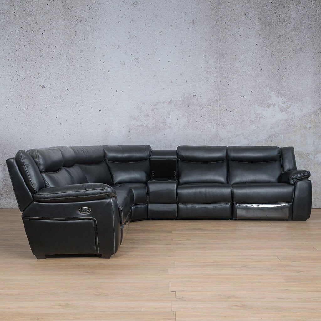 Montana Leather Corner Couch | Corner Couch | Black-Mon | Front Angled | Couches For Sale | Leather Gallery Couches