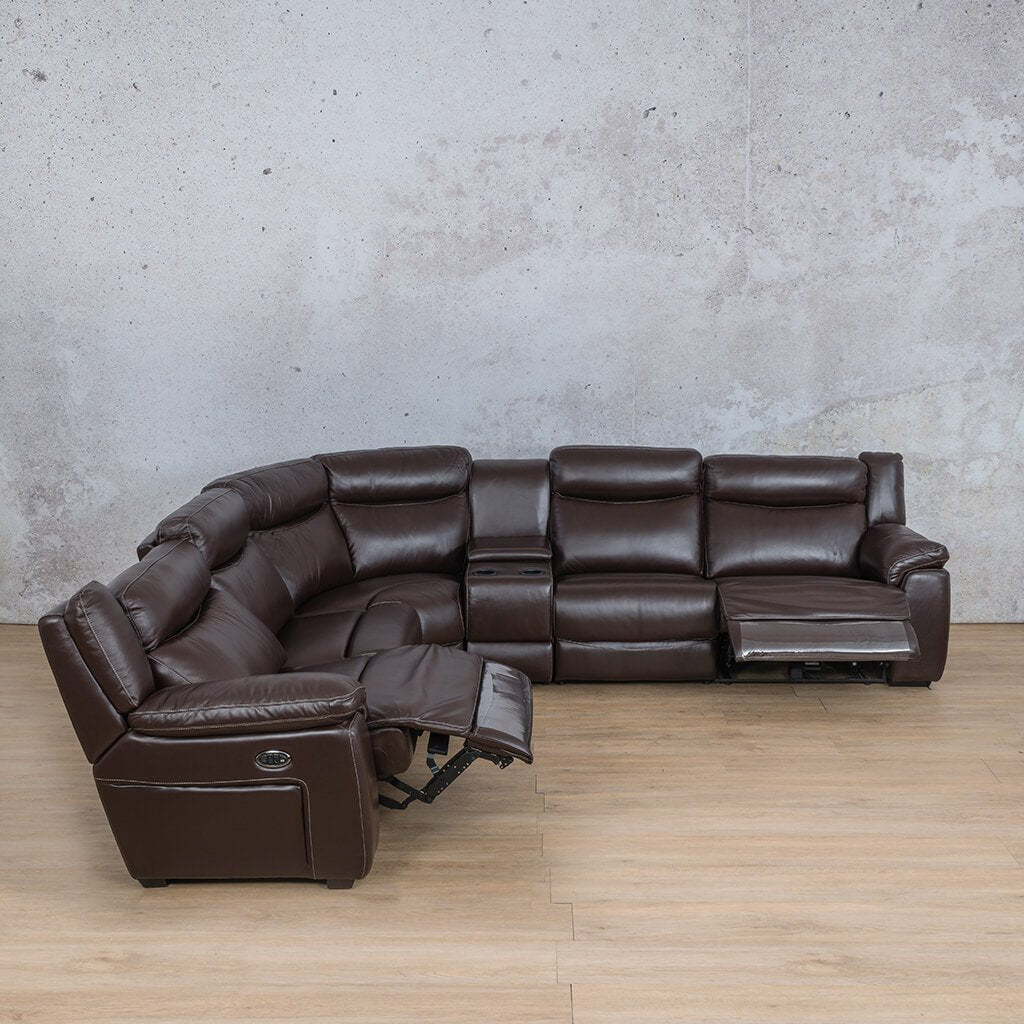 Montana Leather Corner Couch | Corner Couch | Choc-Mon | Open Front Angled | Couches For Sale | Leather Gallery Couches