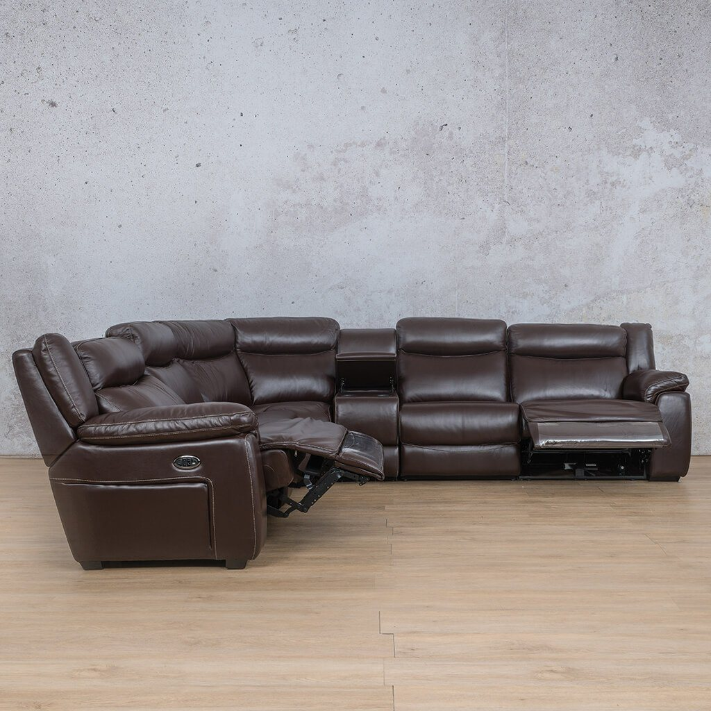 Montana Leather Corner Couch | Corner Couch | Choc-Mon | Front Angled |  Couches For Sale | Leather Gallery Couches