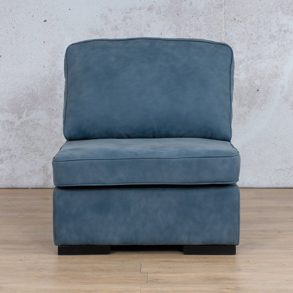 Arizona Leather Couch | Armless Chair | Flux Blue | Leather Gallery
