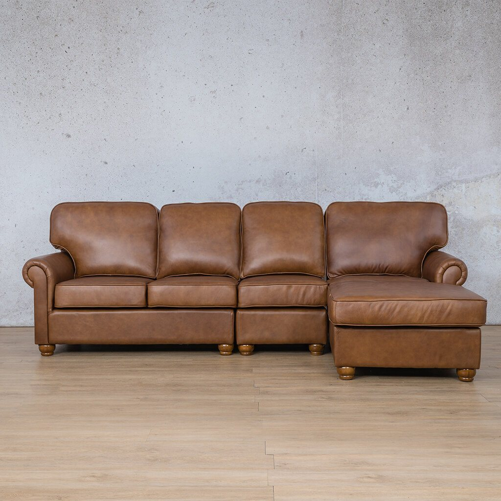 Salisbury Leather Corner Couch | Chaise Modular Sectional-RHF | Czar Pecan-S | Couches For Sale | Leather Gallery Couches