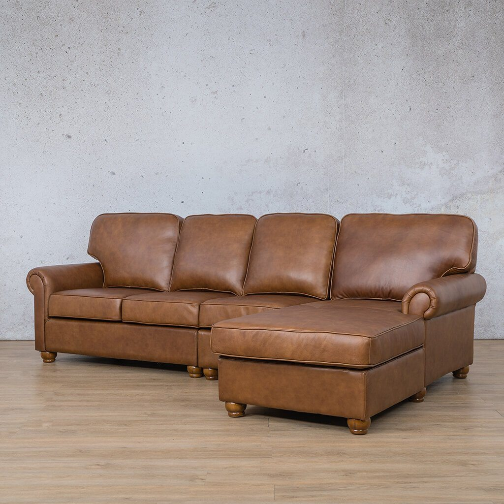 Salisbury Leather Corner Couch | Chaise Modular Sectional-RHF | Czar Pecan-S | Front Angled | Couches For Sale | Leather Gallery Couches