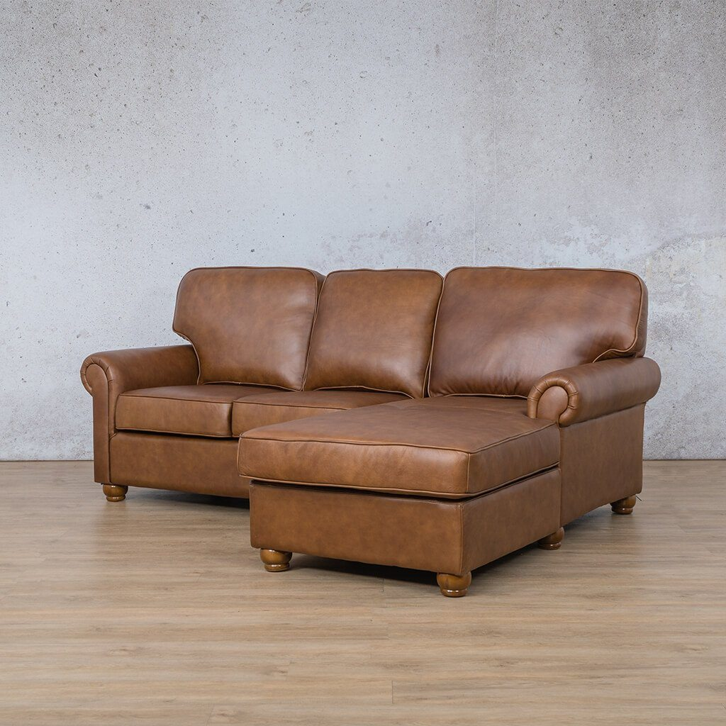 Salisbury Leather Corner Couch | Chaise Sectional-RHF | Czar Pecan-S | Front Angled | Couches For Sale | Leather Gallery Couches