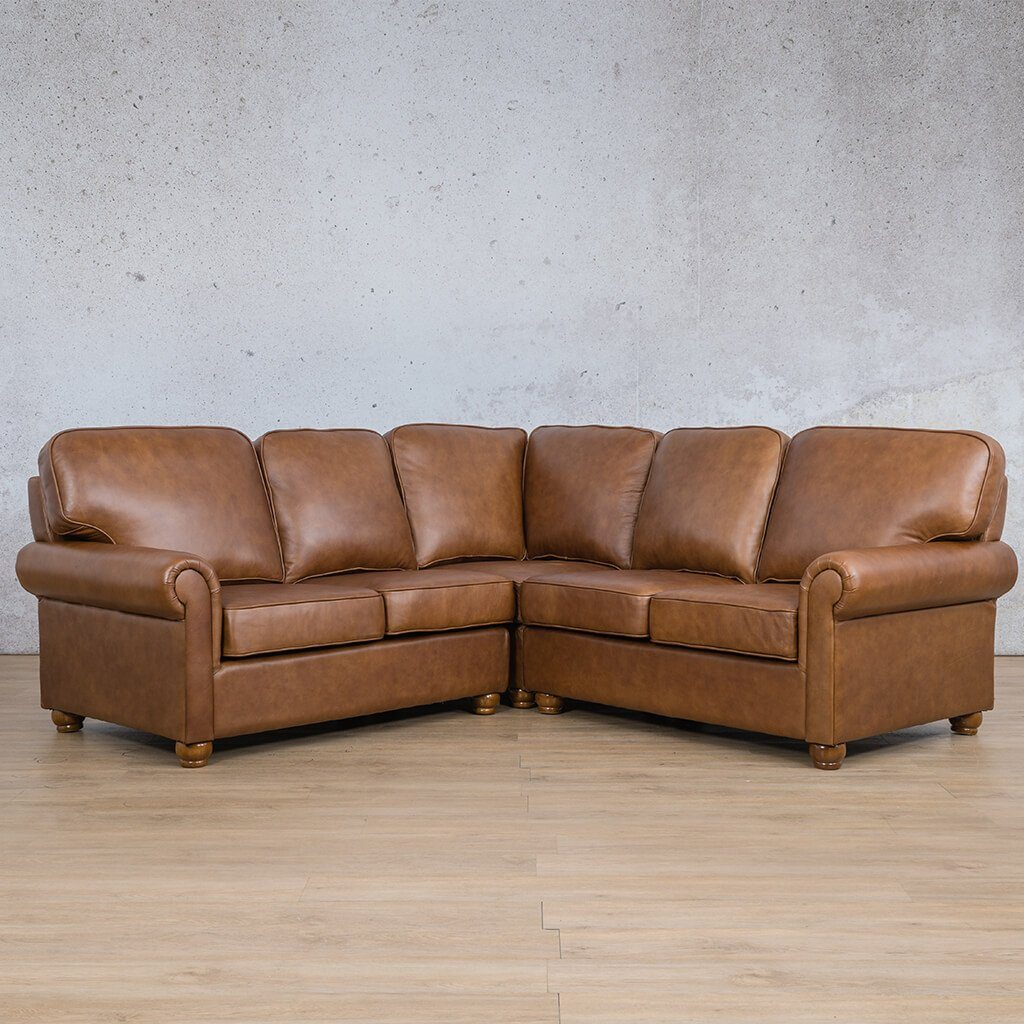 Salisbury Leather Corner Couch | L-Sectional 5 Seater | Czar Pecan-S | Front Angled | Couches For Sale | Leather Gallery Couches