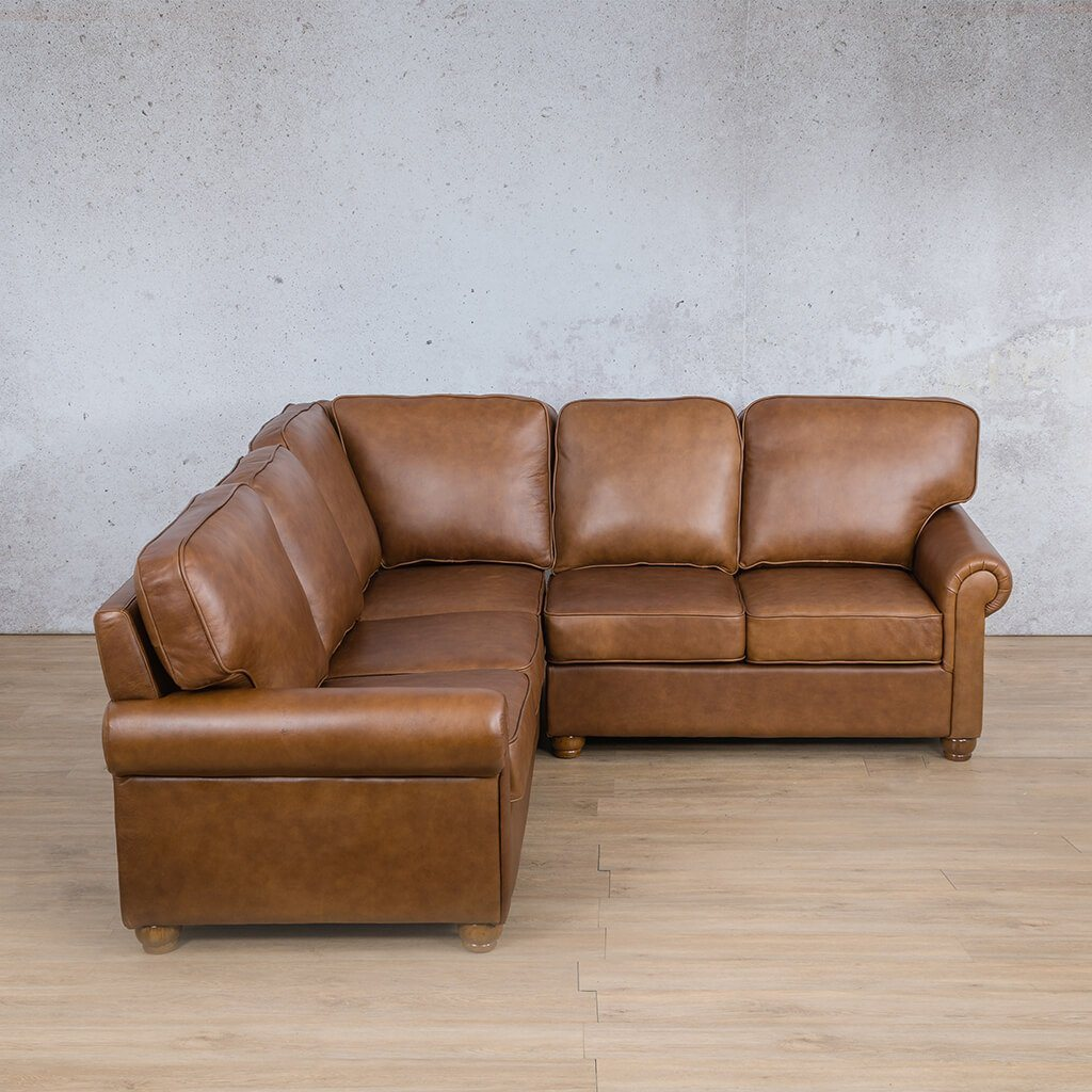 Salisbury Leather Corner Couch | L-Sectional 5 Seater | Czar Pecan-S | Couches For Sale | Leather Gallery Couches