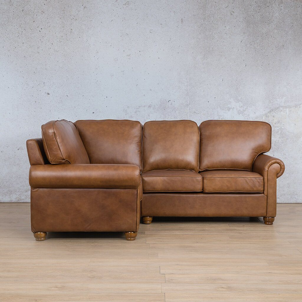 Salisbury Leather Corner Couch | L-Sectional 4 Seater-LHF | Czar Pecan-S | Couches For Sale | Leather Gallery Couches