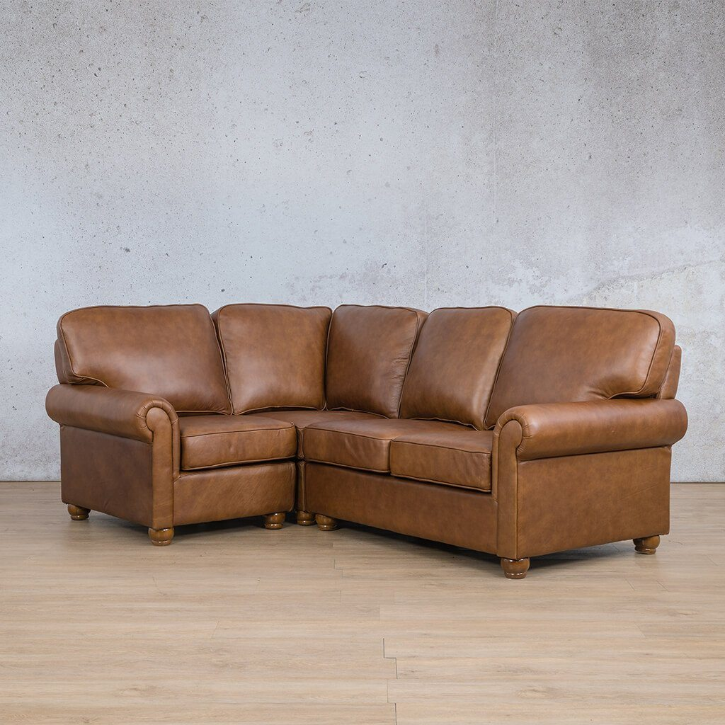 Salisbury Leather Corner Couch | L-Sectional 4 Seater-LHF | Czar Pecan-S | Front Angled | Couches For Sale | Leather Gallery Couches