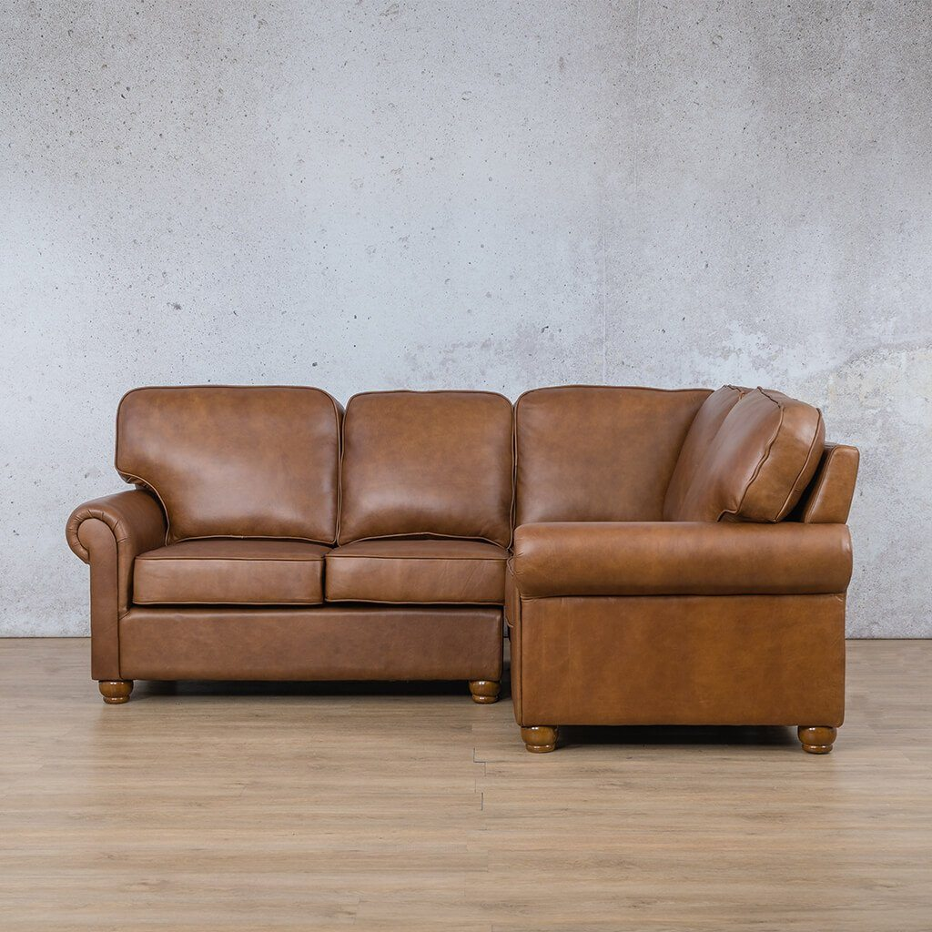 Salisbury Leather Corner Couch | L-Sectional 4 Seater-RHF | Czar Pecan-S | Couches For Sale | Leather Gallery Couches