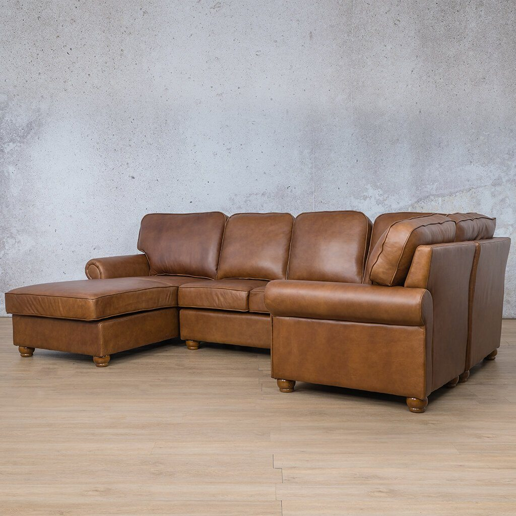 Salisbury Leather Corner Couch | U-Sofa Chaise Sectional LHF | Czar Pecan-S | Front Angled | Couches For Sale | Leather Gallery Couches