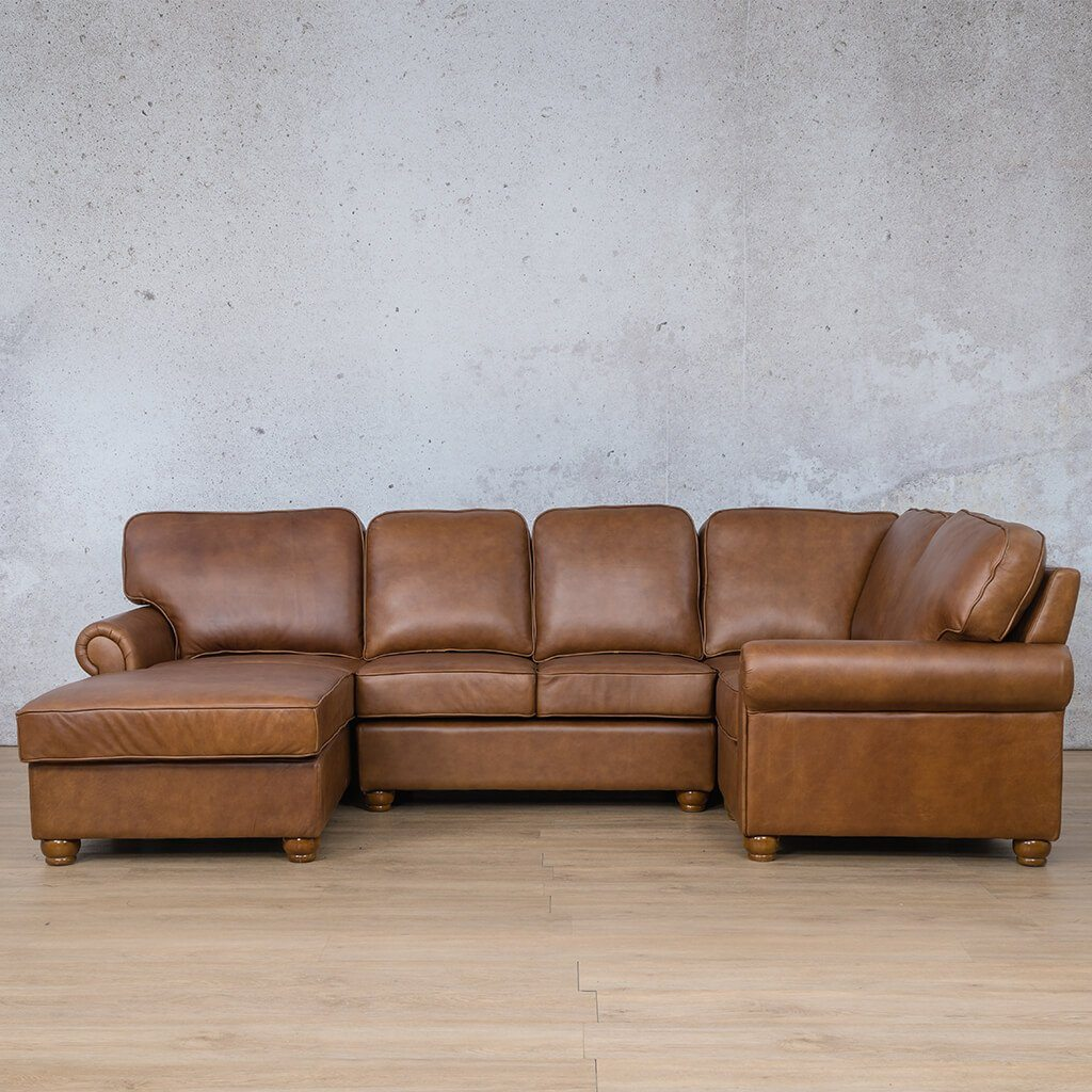 Salisbury Leather Corner Couch | U-Sofa Chaise Sectional LHF | Czar Pecan-S | Couches For Sale | Leather Gallery Couches