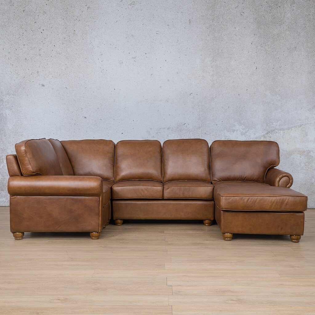Salisbury Leather Corner Couch | U-Sofa Chaise Sectional RHF | Czar Pecan-S | Couches For Sale | Leather Gallery Couches