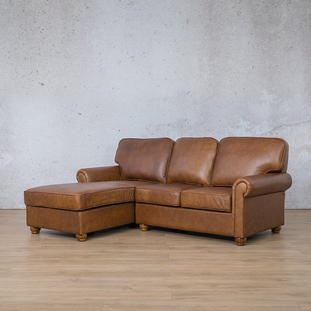 Salisbury Leather Corner Couch | Chaise Sectional-LHF | Czar Pecan-S | Front Angled | Couches For Sale | Leather Gallery Couches