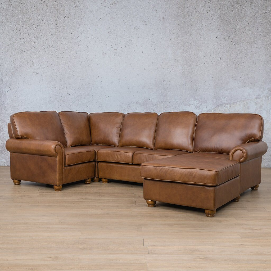 Salisbury Leather Corner Couch | U-Sofa Chaise Sectional RHF | Czar Pecan-S | Front Angled | Couches For Sale | Leather Gallery Couches