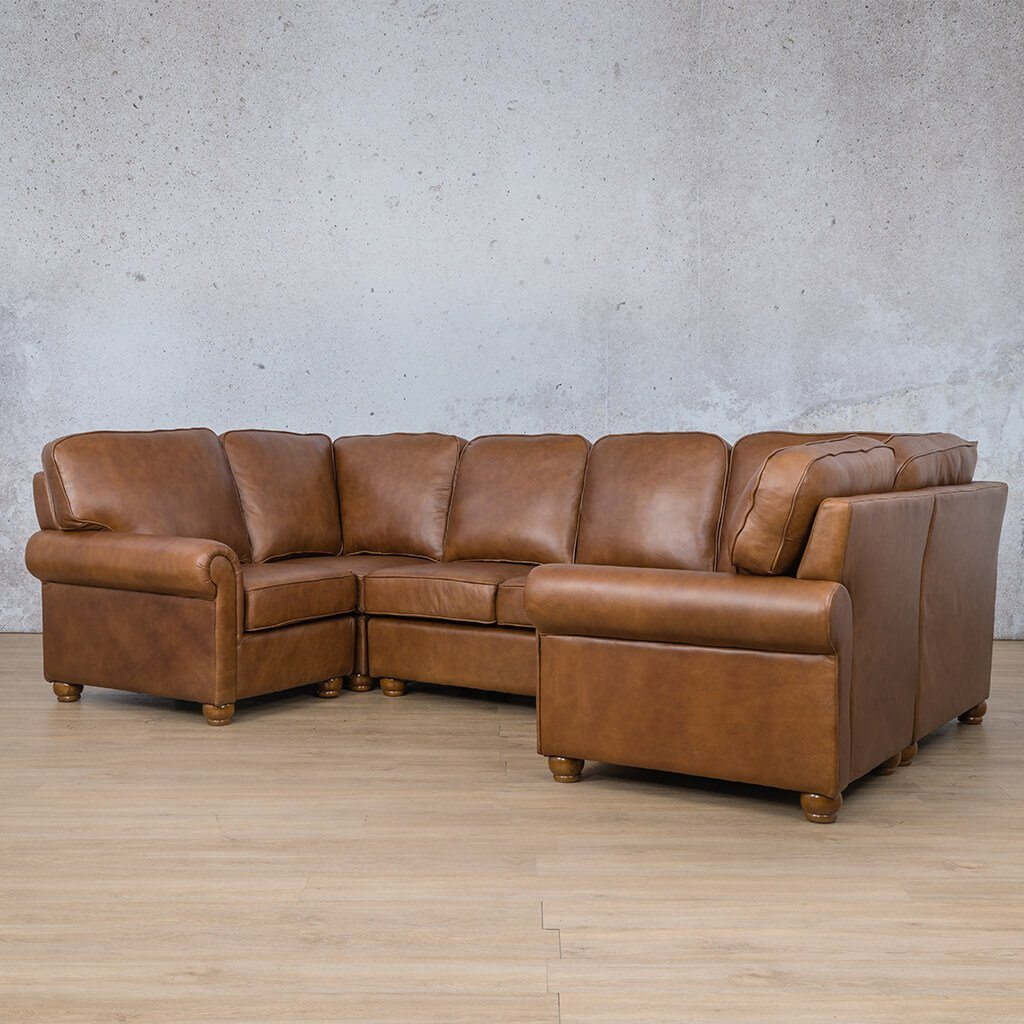 Salisbury Leather Corner Couch | U-Sofa Sectional | Czar Pecan-S | Front Angled | Couches For Sale | Leather Gallery Couches