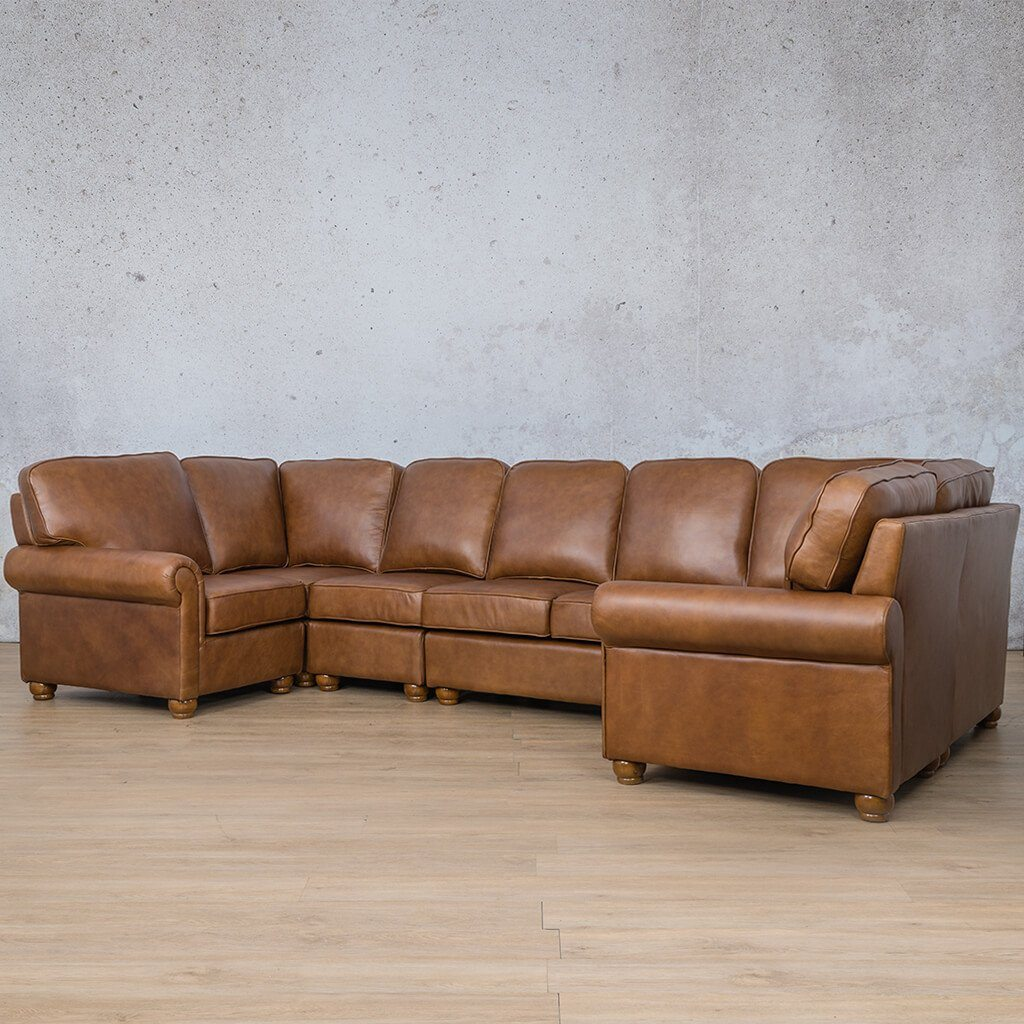 Salisbury Leather Corner Couch | Modular U-Sofa Sectional | Czar Pecan-S | Front Angled | Couches For Sale | Leather Gallery Couches