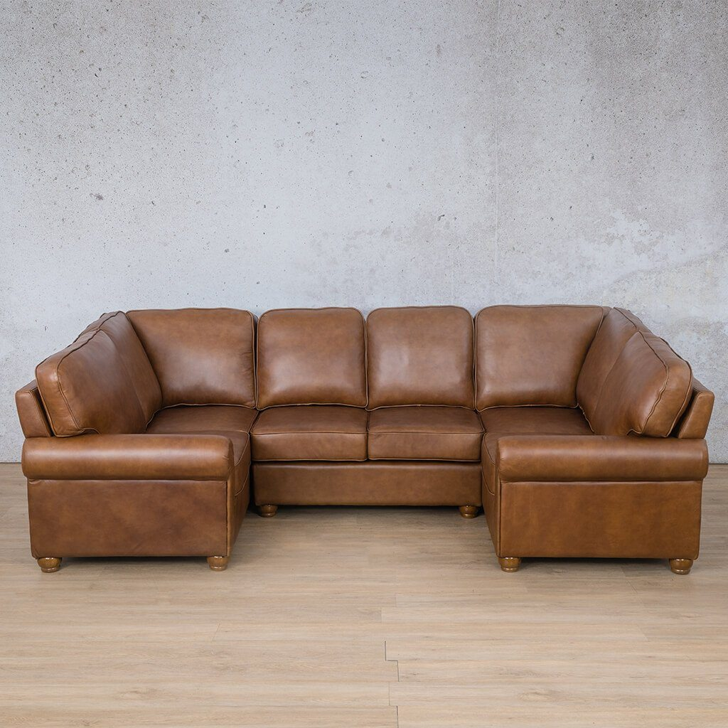 Salisbury Leather Corner Couch | U-Sofa Sectional | Czar Pecan-S | Couches For Sale | Leather Gallery Couches