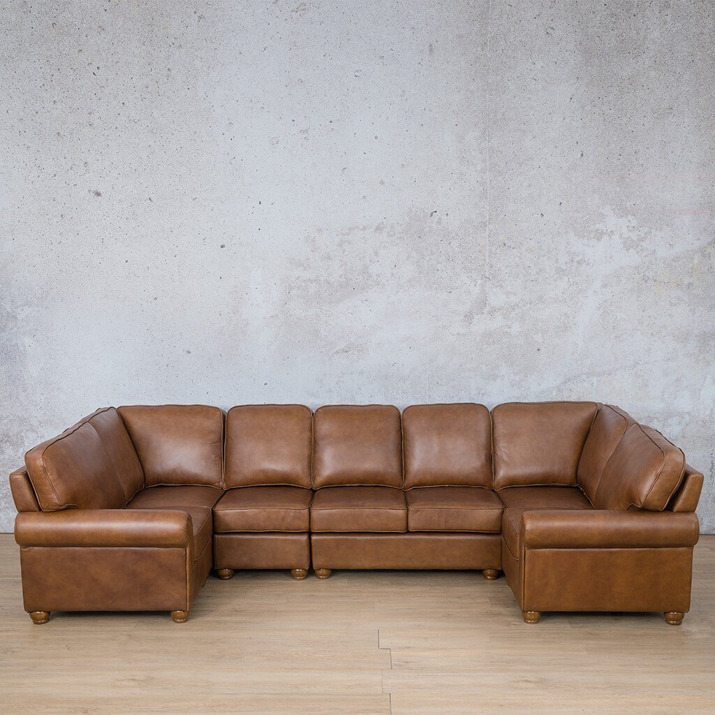 Salisbury Leather Corner Couch | Modular U-Sofa Sectional | Czar Pecan-S | Couches For Sale | Leather Gallery Couches