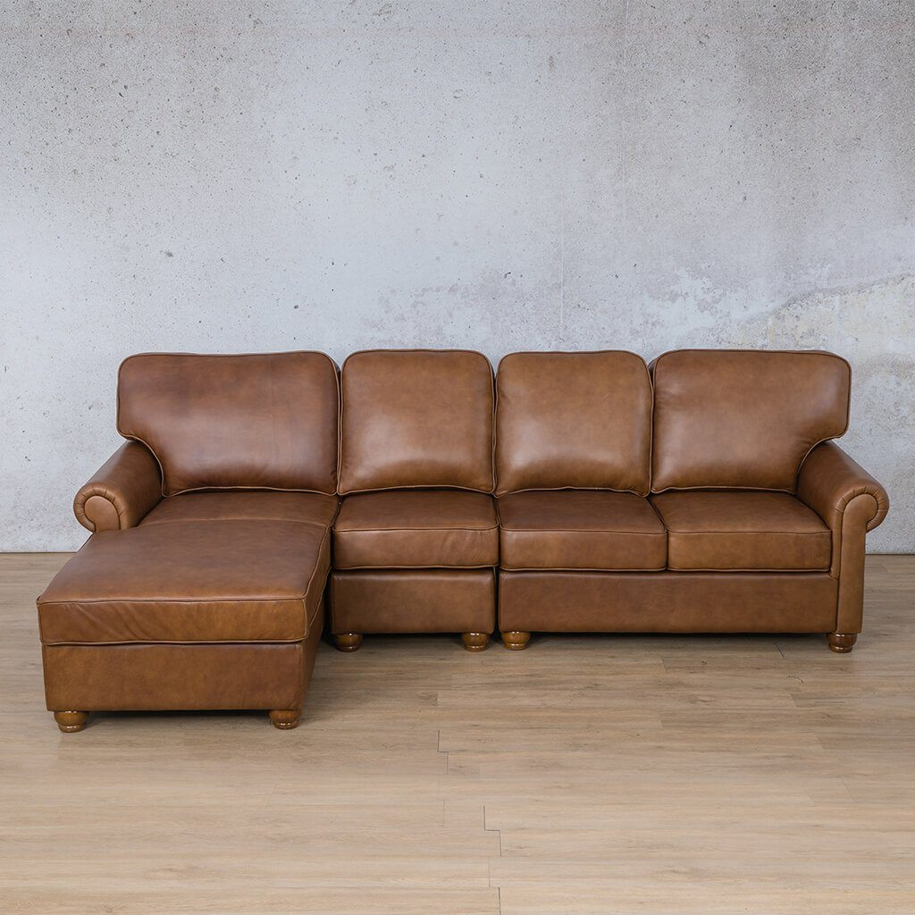 Salisbury Leather Corner Couch | Chaise Modular Sectional-LHF | Czar Pecan-S | Couches For Sale | Leather Gallery Couches