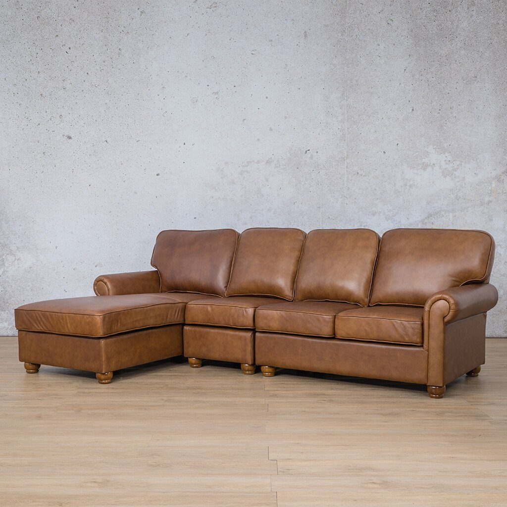 Salisbury Leather Corner Couch | Chaise Modular Sectional-LHF | Czar Pecan-S | Front Angled | Couches For Sale | Leather Gallery Couches