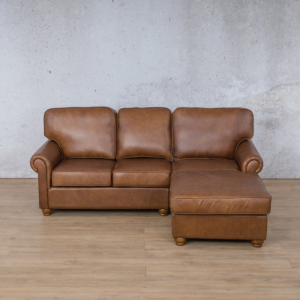 Salisbury Leather Corner Couch | Chaise Sectional-RHF | Czar Pecan-S | Couches For Sale | Leather Gallery Couches