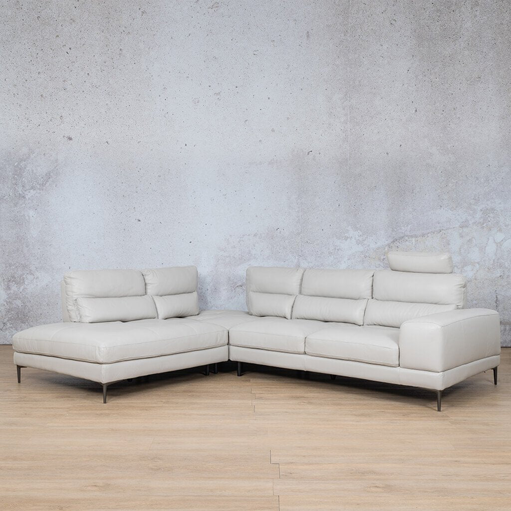 Madrid Leather Corner Couch | Sectional | Beige-M | Front Angled | Couches For Sale | Leather Gallery Couches