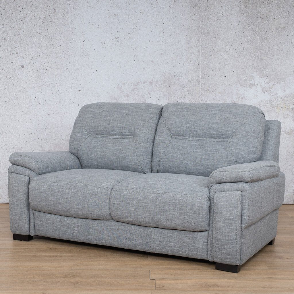 San Lorenze Fabric Couch| 2 seater couch | Mirage Grey | Front Angled | Couches for Sale | Leather Gallery Couches