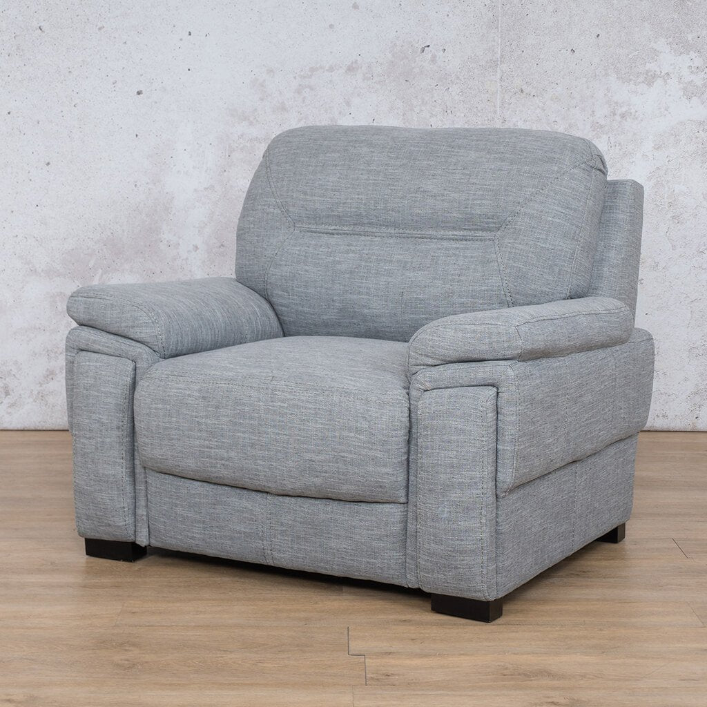 San Lorenze Fabric Couch | 1 seater couch | Mirage Grey | Front Angled | Couches for Sale | Leather Gallery Couches