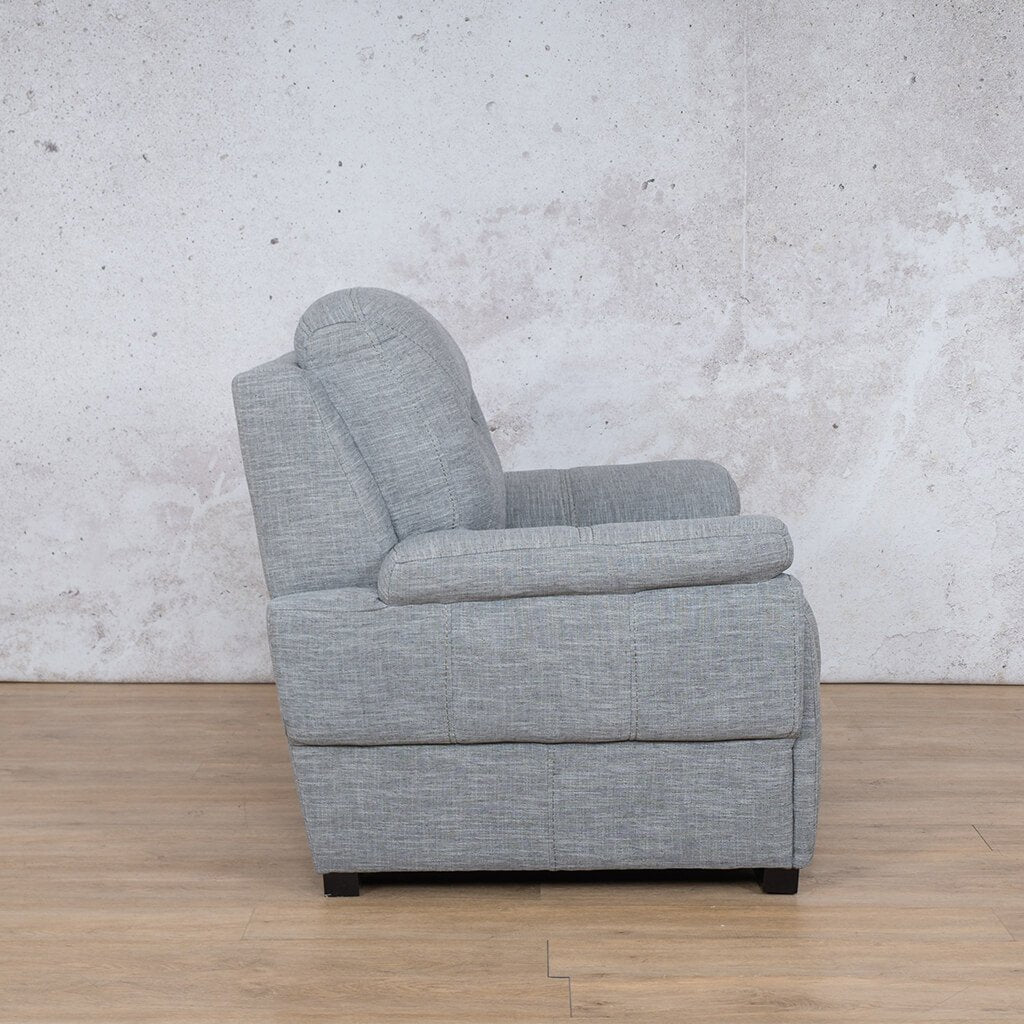 San Lorenze Fabric Couch | 1 seater couch | Mirage Grey | Side |Couches for Sale | Leather Gallery Couches