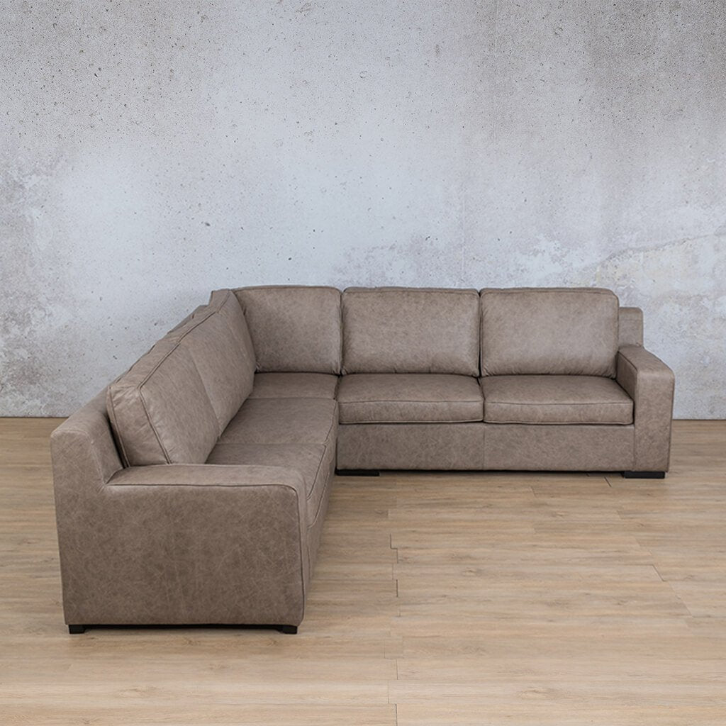 Arizona Leather Couch | L-Sectional 5 Seater | Bedlam Taupe | Leather Gallery