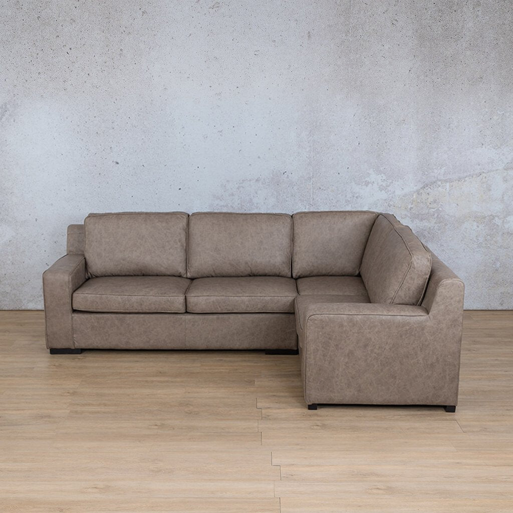 Arizona Leather Couch | L-Sectional 4 Seater RHF | Bedlam Taupe | Leather Gallery