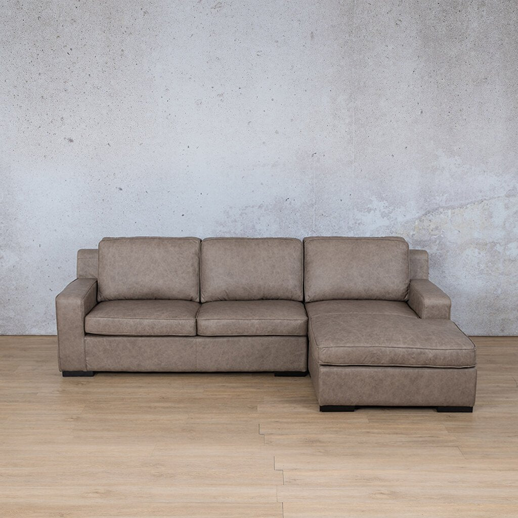 Arizona Leather Couch | Sofa Chaise RHF | Bedlam Taupe | Leather Gallery