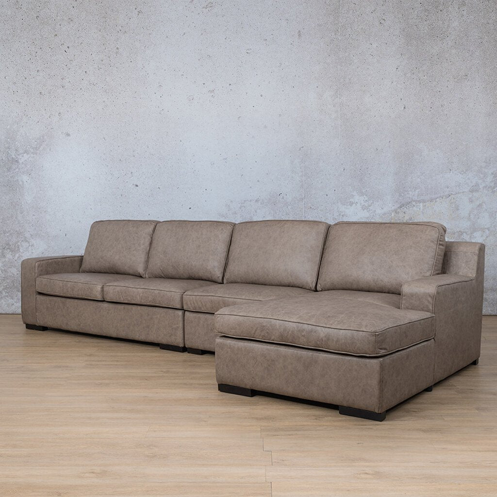 Arizona Leather Sofa Chaise Modular Sectional - RHF