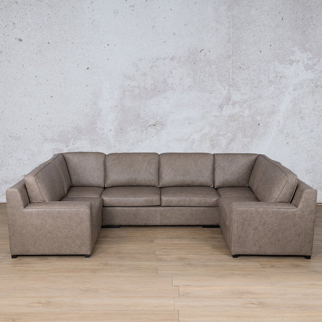 Arizona Leather Corner Couch | U-Sofa Sectional | Bedlam Taupe | Couches For Sale | Leather Gallery Couches