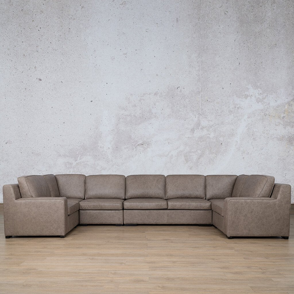 Arizona Leather Couch | Modular U-Sofa | Bedlam Taupe | Leather Gallery