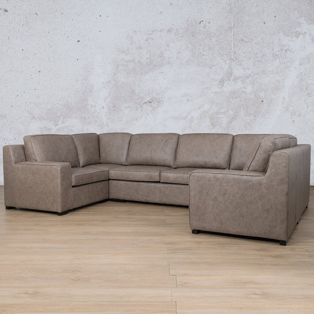 Arizona Leather Corner Couch | U-Sofa Sectional | Bedlam Taupe | Front Angled | Couches For Sale | Leather Gallery Couches