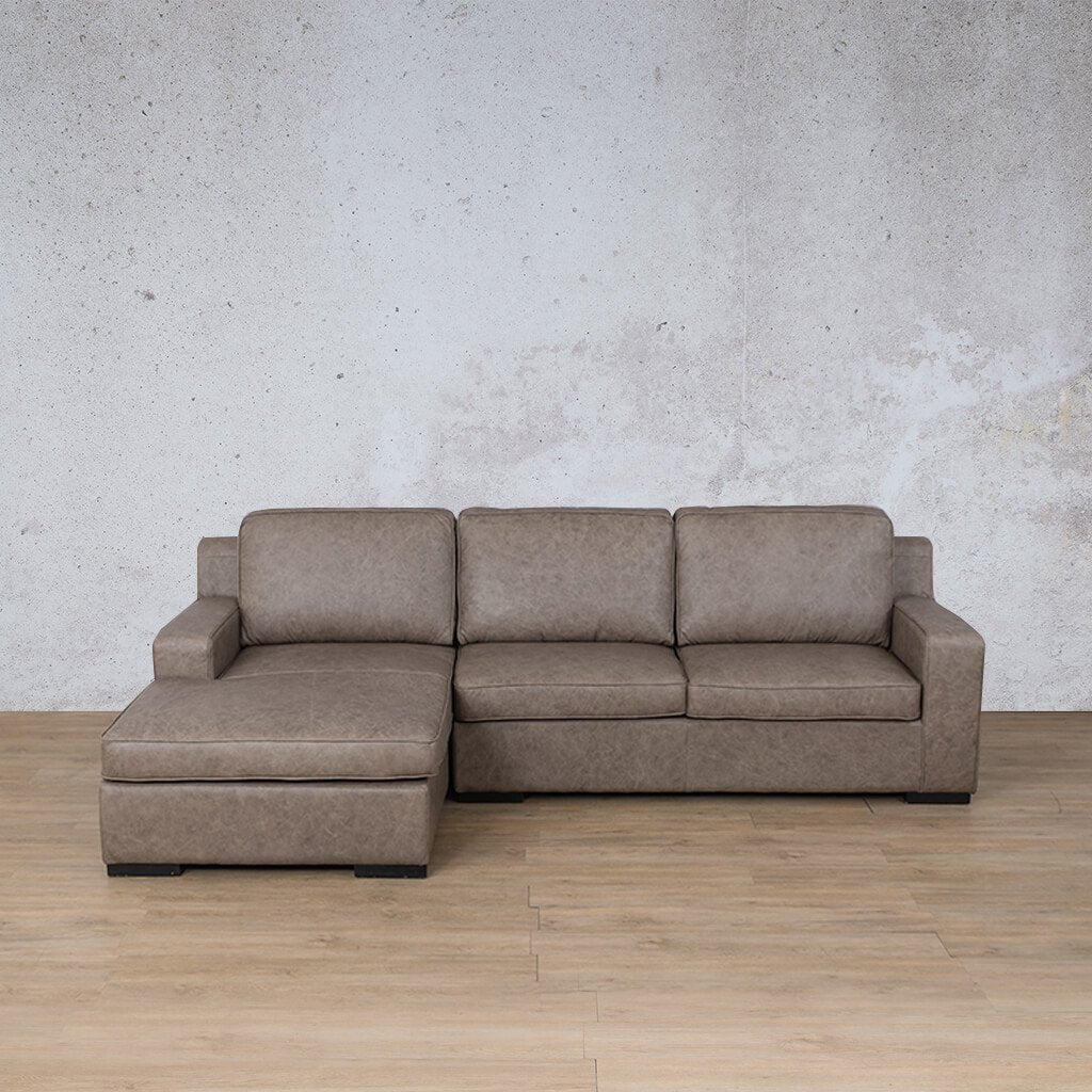 Arizona Leather Couch | Sofa Chaise LHF | Bedlam Taupe | Leather Gallery